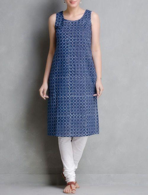 Indigo Hand Block Printed Cotton Kurta With Jacket Set of 2 by Aavaran
