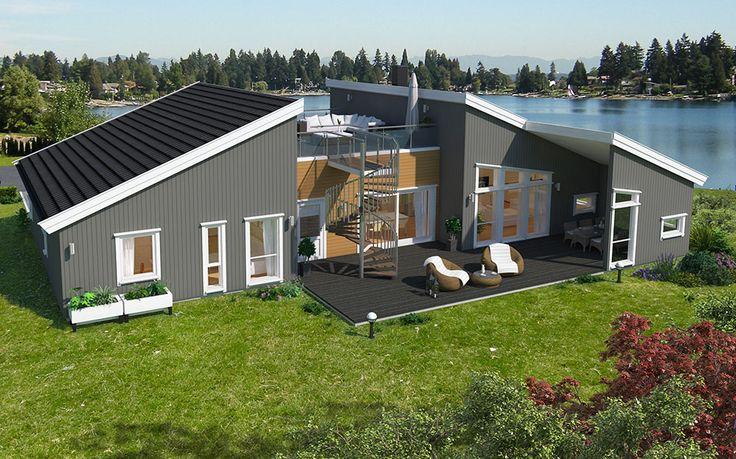 Med husplan Helgøya fra Hus 1 Norge får du spennende uteplasser som kombinerer en overbygget terrasse på hovedplan, samt en stor og lun takterrasse. Boligens åpne stue/kjøkken-løsning er det naturlige samlingspunktet.