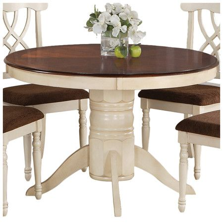 Find this Pin and more on The Dining Room  Dark wood table top with white cream  base. 14 best Kitchen images on Pinterest