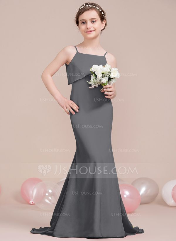 2395c07e761 Trumpet Mermaid Square Neckline Sweep Train Chiffon Junior Bridesmaid Dress  With Cascading Ruffles