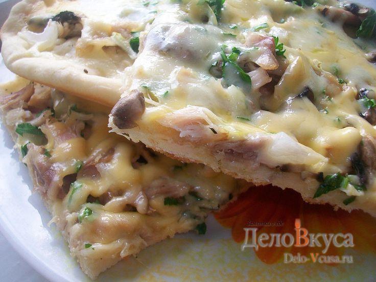 Пицца с #курицей, #шампиньонами и #сыром без томатной основы #пицца #рецепты #деловкуса #готовимсделовкуса
