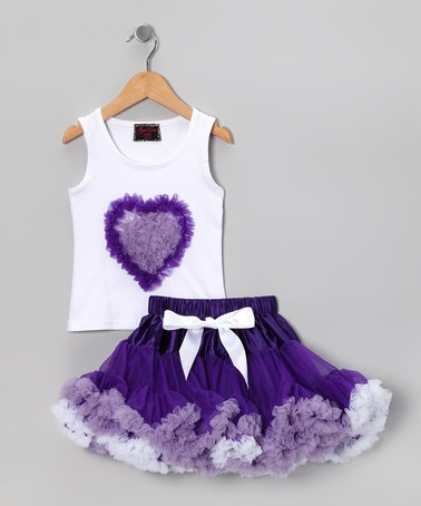 Take a look at this Purple Chiffon Heart Tank & Pettiskirt - Toddler & Girls by Royal Gem Clothing on #zulily today!