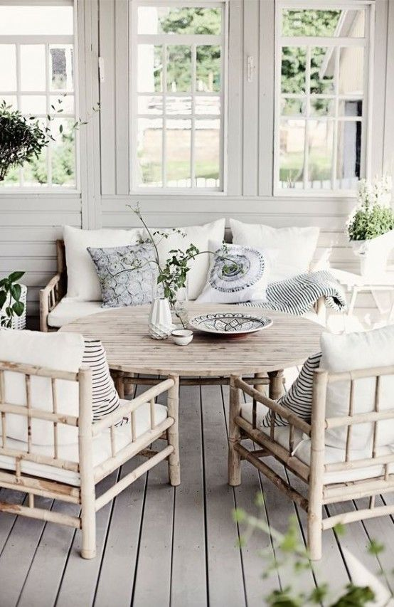 Furniture:Fabulous Decoration For Terrace With Nice Rattan Chairs And Round Table With White Cushions Decorating Your Terrace with A Scandin...