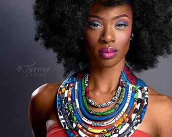 Kente Print Necklace African Kente Jewelry by ETurnerCouture