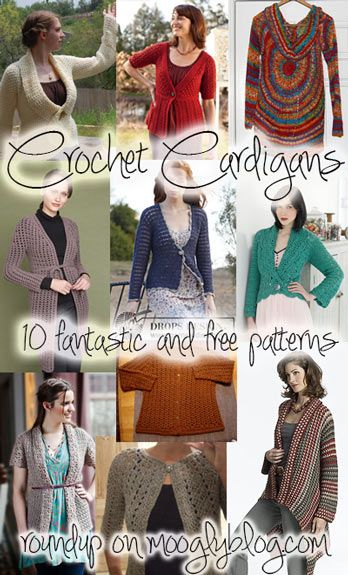 Fantastic and free crochet cardigan patterns! Gotta make them all for the prefect sweater wardrobe! {mooglyblog.com}
