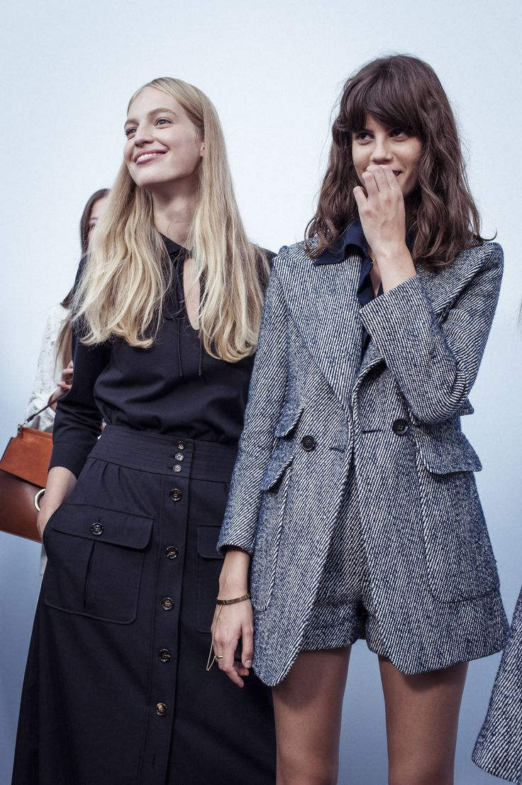 #chloeGIRLS share a laugh backstage before the Spring-Summer 2015 runway