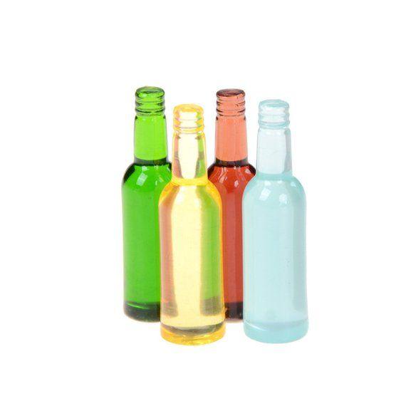 6Pcs Miniature Colorful Wine Bottles 1:12 Dollhouse Bar Accessories Decor