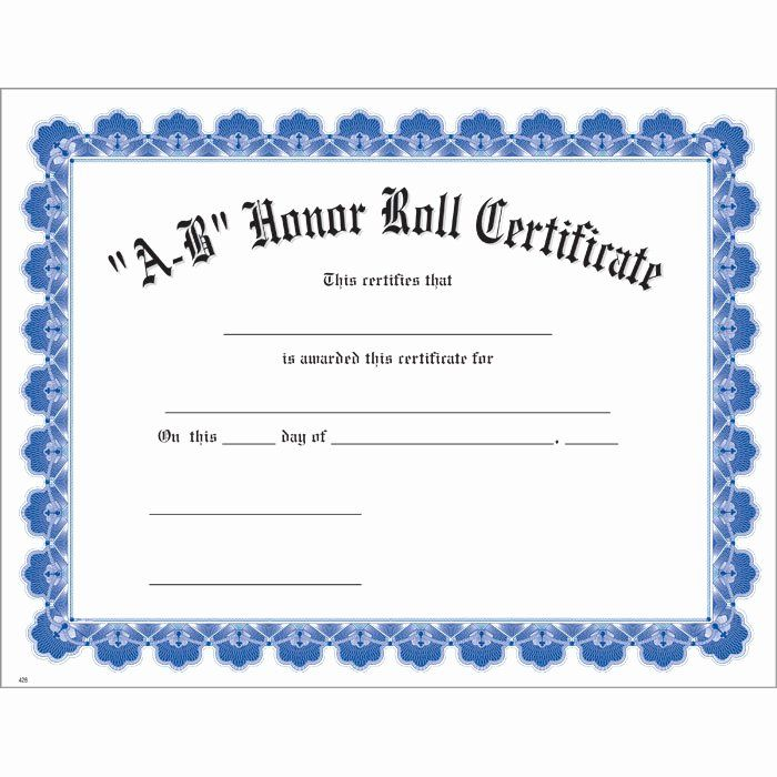 Ab Honor Roll Certificate Printable Unique A B Honor Roll Blue Uw Cer Graduation Certificate Template Student Of The Month Free Printable Certificate Templates