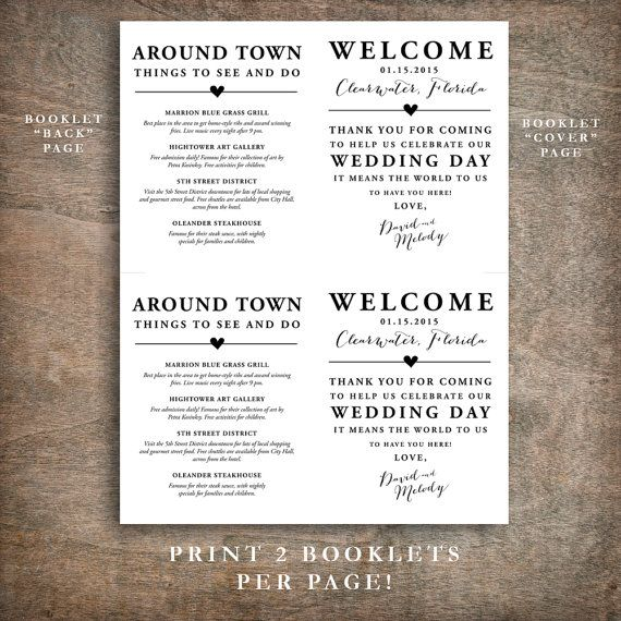 Printable Wedding Welcome Bag Booklet Note Itinerary