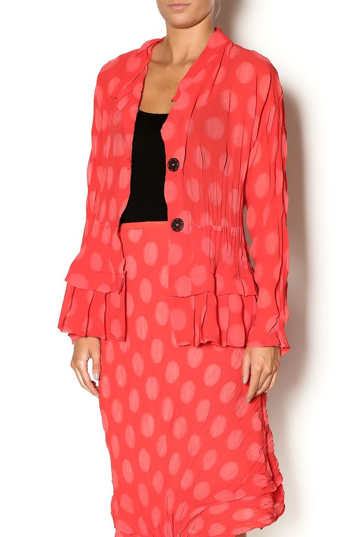 Strawberry polka dot printed jacket with a slightpeplum waist and side functional pockets. This jacket is machine washable. Style over a white sun dress and pair with nude heel sandals.   Haru Jacket by BABETTE. Clothing - Jackets, Coats & Blazers - Jackets Eastern Shore, Baltimore, Maryland