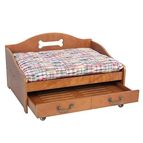 Wooden Pet Dog Cat Bed w/ 2 Tier Storage Vintage Durable Furniture Sleeper NEW  #PetSupplies