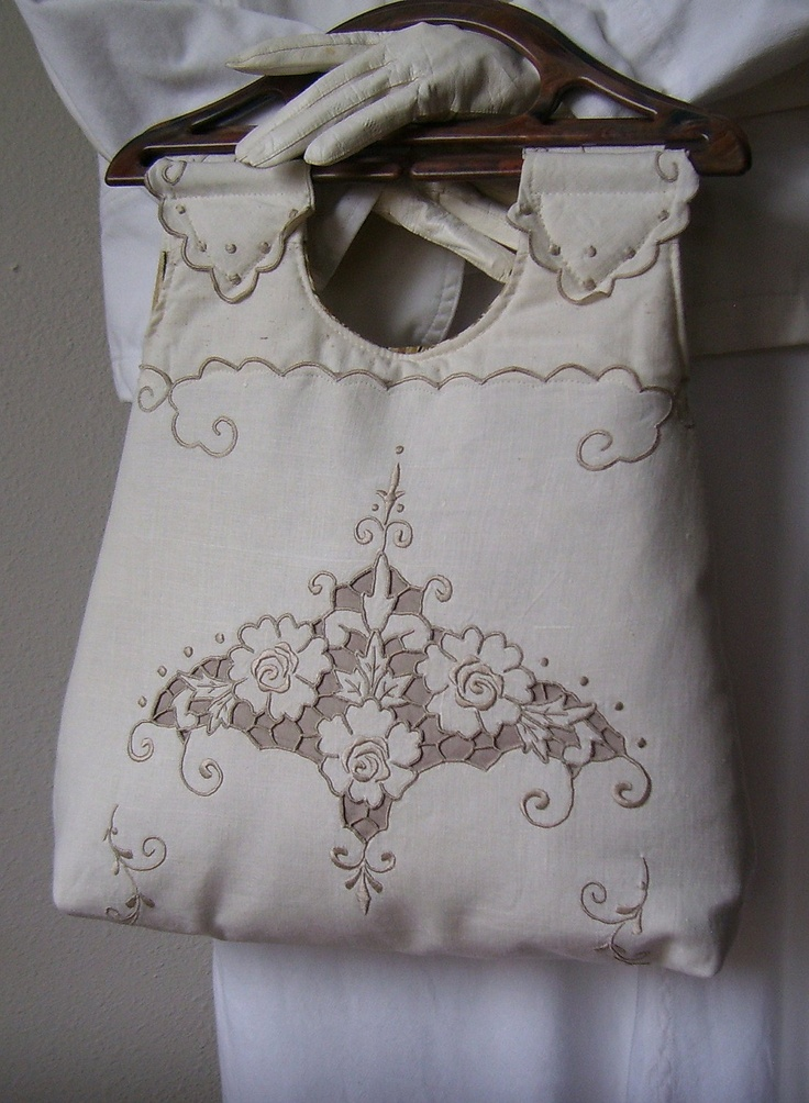 Repurposed Embroidered Table Runner Purse