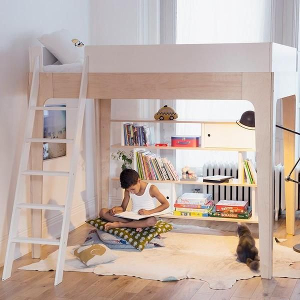 Loft Bed With Stair Dresser And Curtain Reading Nook Underneath