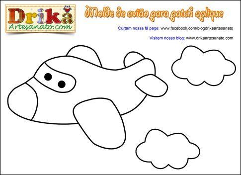 Patchwork Moldes avião para patch aplique • Drika Artesanato - O seu Blog de Artesanato!