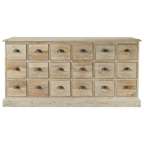 Gerecycleerd houten dressoir met meerdere laden B 170 cm