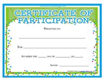 certificates of participation awards