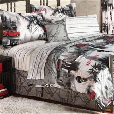 New York City Themed Statue Of Liberty Microfiber Full Comforter Sheet Big City Bedroom