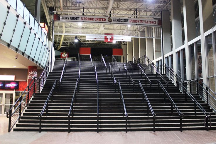The Canadian Tire Centre was in need of a way to fix their very weathered steps. Mural Magic was called upon to create a strong base coat of special epoxy black paint to weather the traffic. Vinyl stickers were then applied on top. Ottawa Senators.