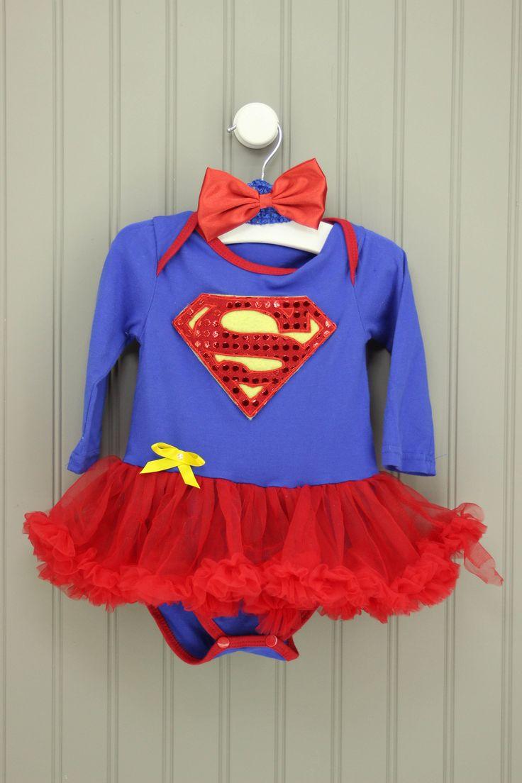 Supergirl Superman 6-12M Headband & Romper Tutu Dress