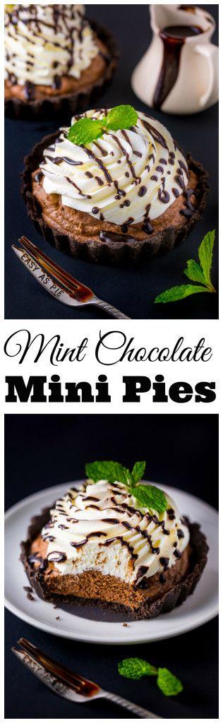 HOLY YUM!!! No-Bake Mini Mint Chocolate Cream Pies!