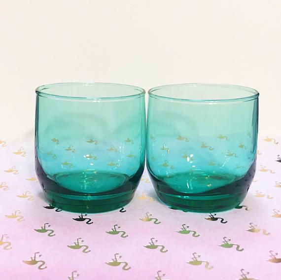 Aqua Juice Glasses // Short Green Anchor Hocking Drinking