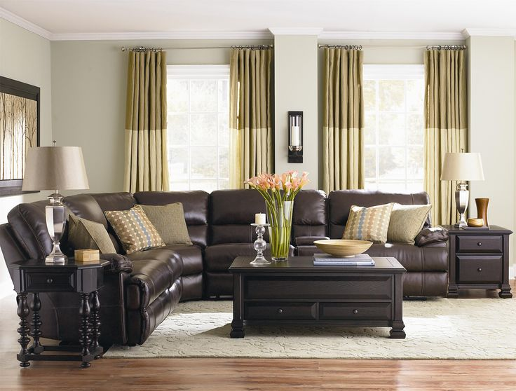 Leather Sofa I like the black end tables and coffee table with the dark chocolate leather couch Leather Sectional