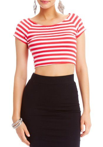 2B Striped Crop Top 2b Knit Tops Calypso Coral/white-xs #Tops #Apparel #2bbybebe