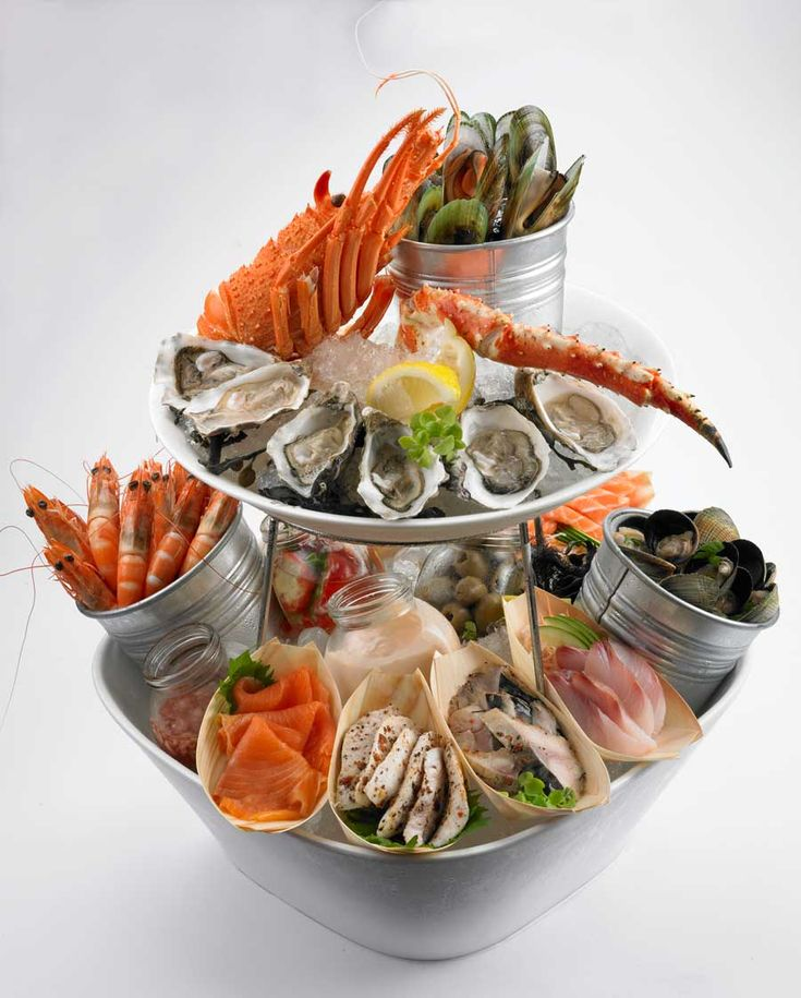 Make Merry Chilled Seafood Platter. 5 Oysters, King Crab Legs, Half Lobster, Assorted Sashimi, Basil Pesto Grilled Squid, Mussels in Spicy Pomodoro, White Wine Clams, Braised Monk Fish.