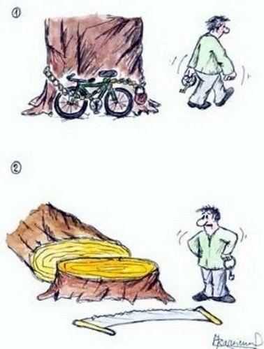 Kreslené vtipy - krádež kola