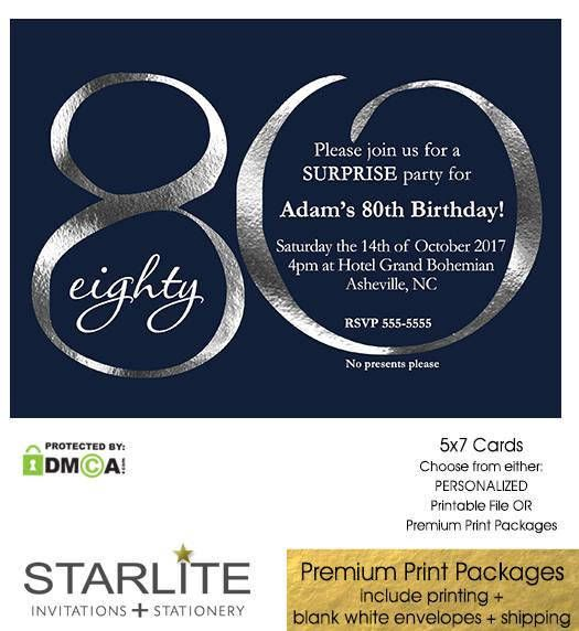 The 25 best 80th birthday invitations ideas – 80th Birthday Invitation Cards