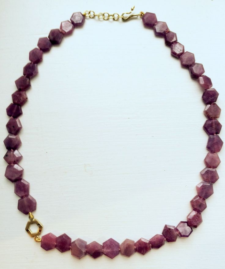 Ruby necklace with gold hexagon pendant by kochiokada on Etsy