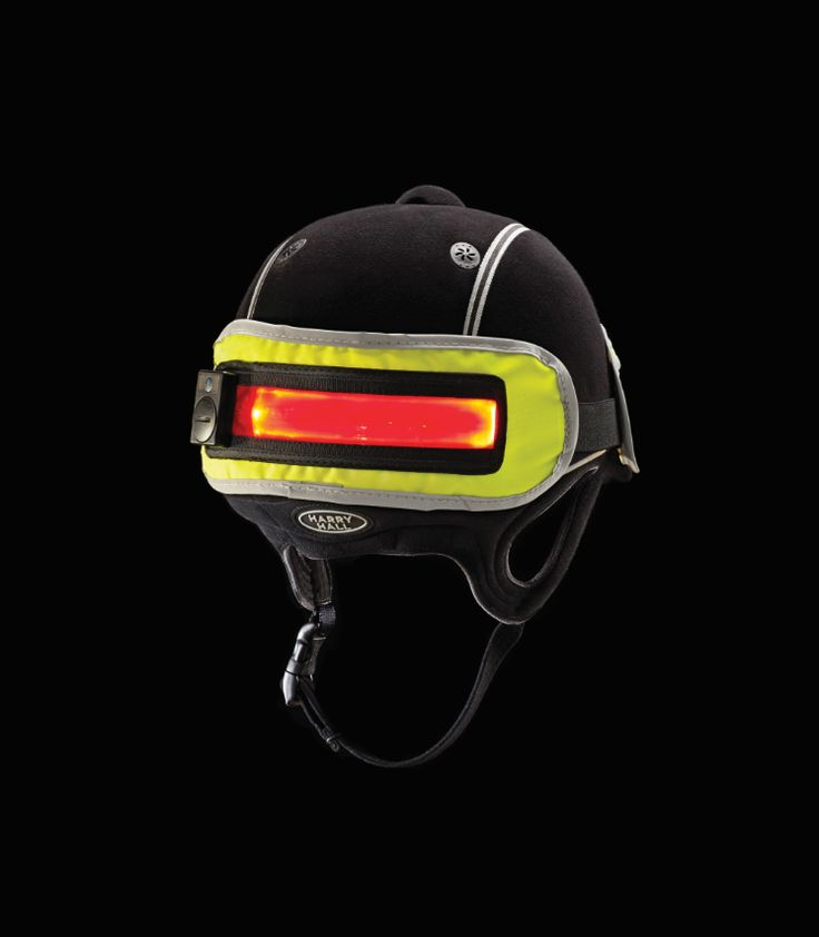The Hi Viz Hat Band. Features a front and back panel with a waterproof light that has three settings for added visibility.