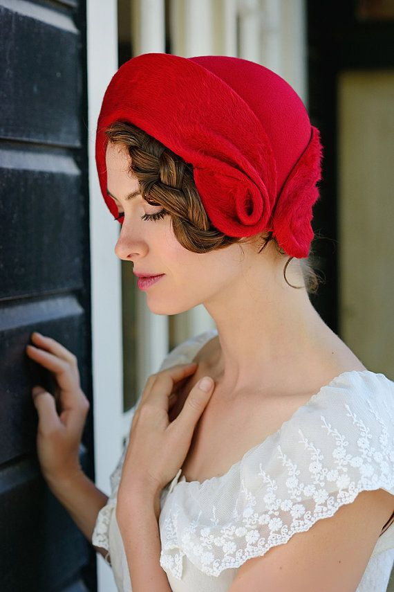 Romantic red romantic red hand made cloche