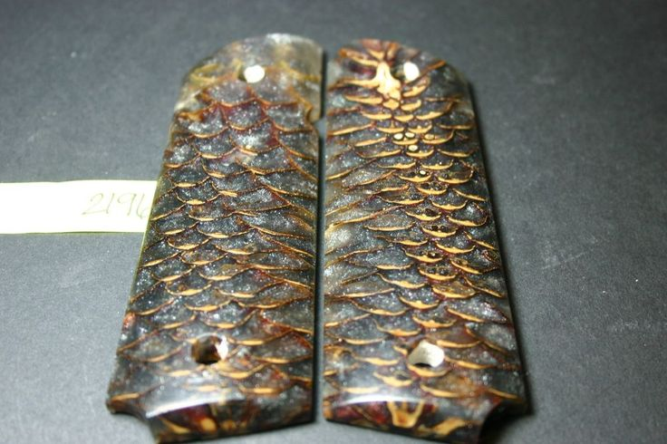 Discount CAST PINECONE PEARL FULL SIZE 1911 GRIPS Wood Mag 8rd Government BLACK #206grips