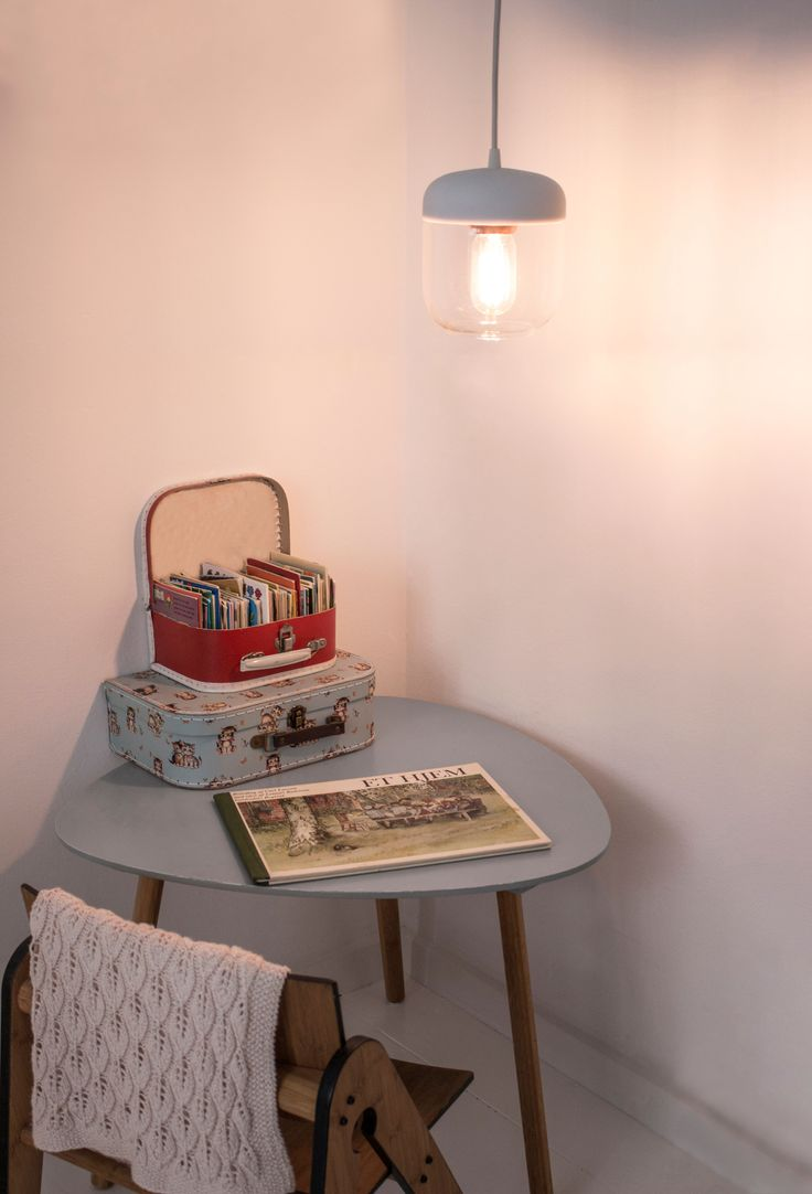 A cosy corner with the Acorn lamp in white.
