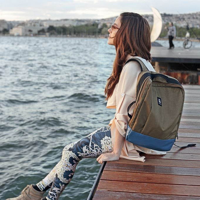 Crumpler Priivate Surprise Backpack on a pier in Greece