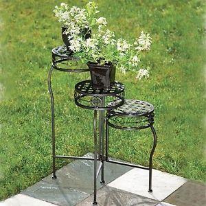 Flower-Plant-Stand-Three-Tier-Steel-Shelf-Indoor-Outdoor-Stand-Bronze-Finish-New