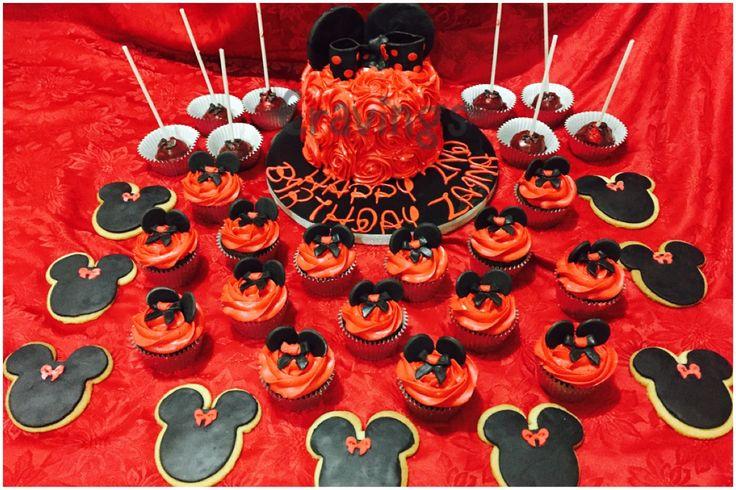 Minnie themed , red velvet cake, vanilla cookies, choc fudge cupcakes and ferrero cake pops