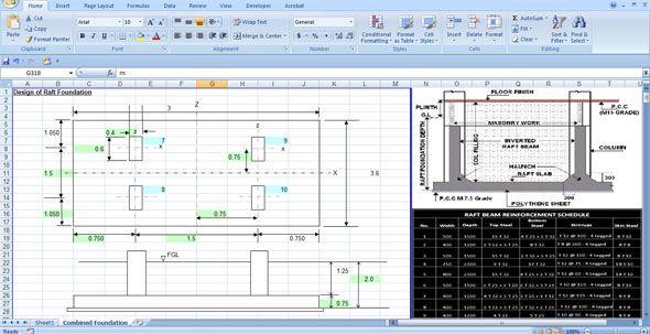 Download excel sheet to design raft foundation easily | 3d