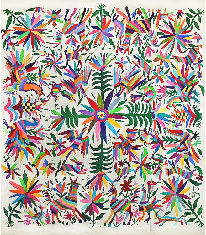 Flowers Amp Animals Otomi Tapestry 70 Quot W X 70 Quot H Bordados
