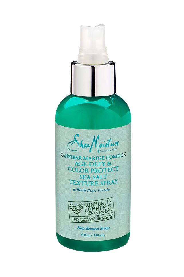 Shea moisture spray product with exclusive marine extract complex including red algae gives your curls a beach wave definition and a light hold.