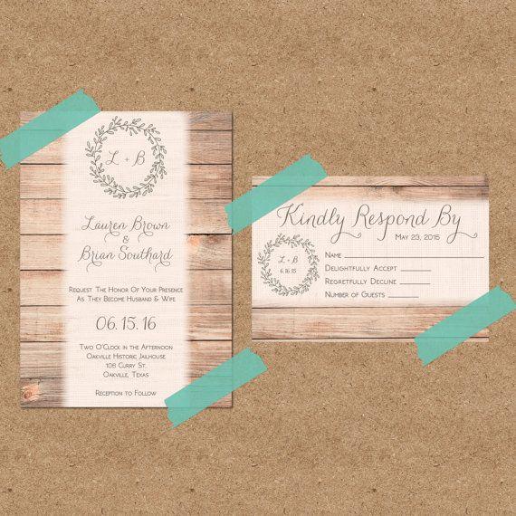 Rustic Burlap & Wood Wedding Invitation Print at Home PDF/JPEG