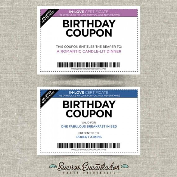 printable birthday coupons set of 4 hbd stuff pinterest