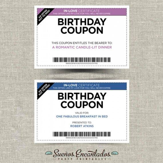 Printable Birthday Coupons - Set Of 4