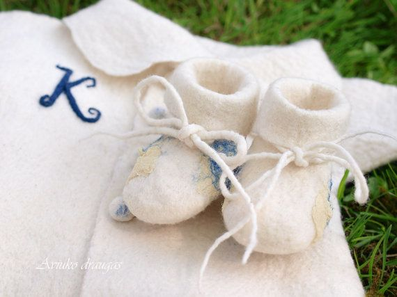 Felted Christening outfit for boys with Initials  by DressInFelt