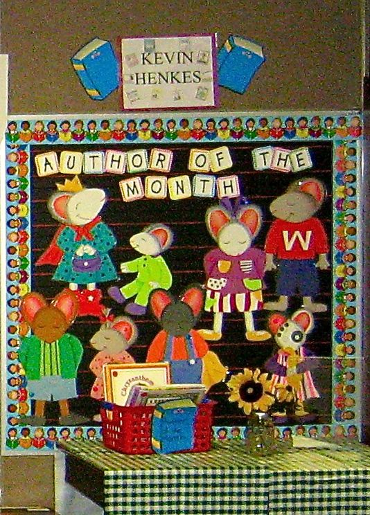 Authors (Kevin Henkes) Bulletin Board - so many options! Love the letters and idea...would make it more informative for middle school!