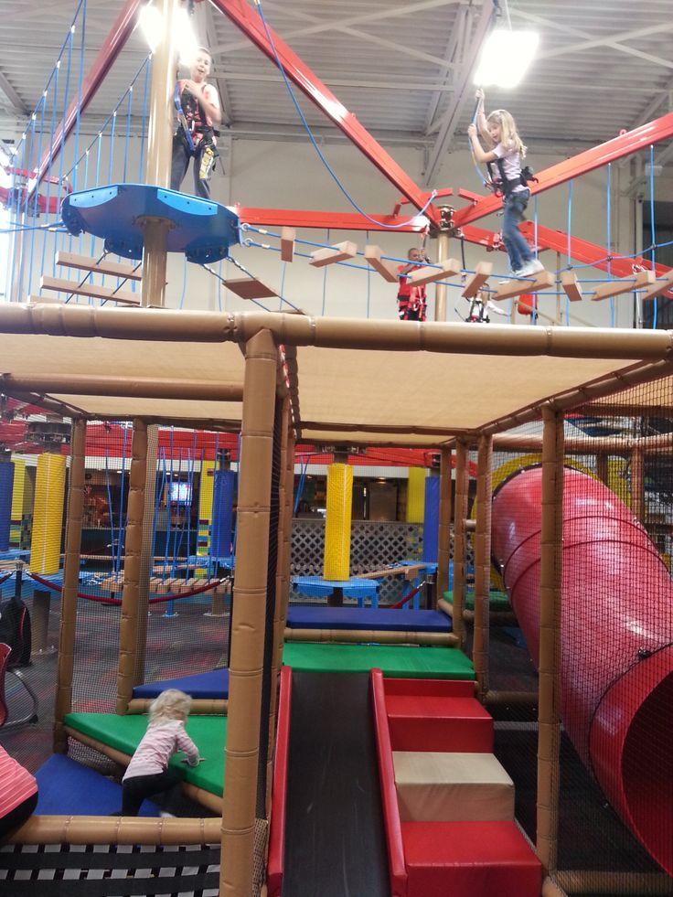 Burlington's Ballocity, Skytrail, and SkyTykes attraction at FunCity. #FamilyFun #MyIowaGetaway