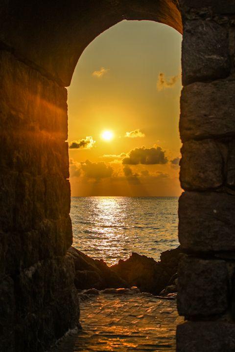 "gyclli: ""  Cefalu, Sicily, Italy   Sunset over the rocks *** By Marie Hélène """