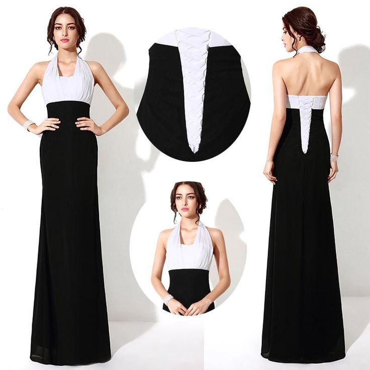 White And Black Long Arabic Prom Dresses Halter Neck Sexy Backless Floor Long 2016 Real Image Evening Event Wears Occasion Party Gowns Cheap Prom Dress Shop Prom Dresses For Kids From Whiteone, $66.22| Dhgate.Com