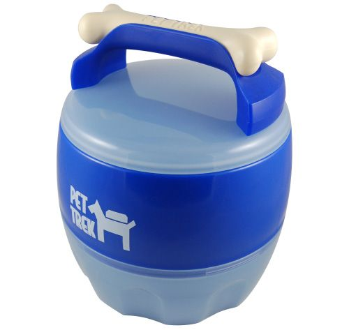 Food and water storage that comes apart into two bowls! The white bone handle is even a chew toy!